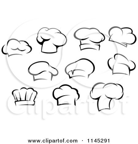 Clipart of Black and White Chefs Toque Hats - Royalty Free Vector Illustration by Vector Tradition SM