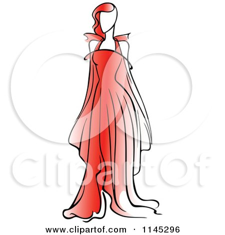Clipart of a Fashion Model in a Red Dress 1 - Royalty Free Vector Illustration by Vector Tradition SM