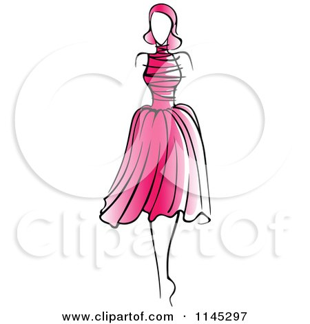 Pink Dress on Clipart Of A Fashion Model In A Pink Dress 2   Royalty Free Vector