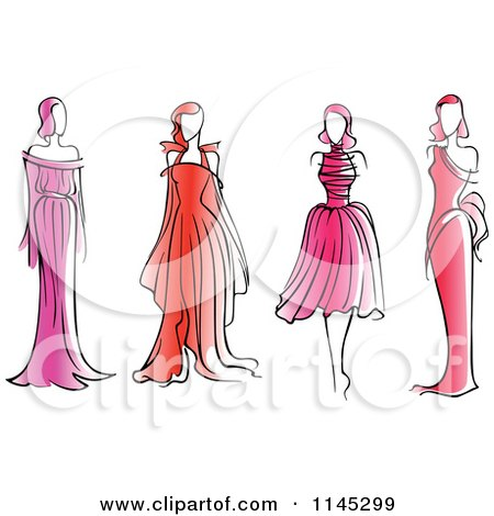 Clipart of Fashion Models in Pink and Red Dresses - Royalty Free Vector Illustration by Vector Tradition SM
