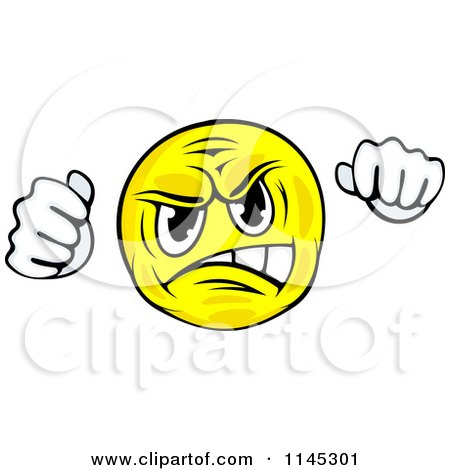 Clipart of a Mad Emoticon Holding up Fists - Royalty Free Vector Illustration by Vector Tradition SM