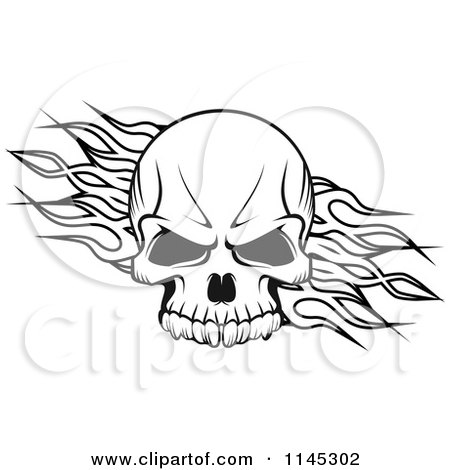 Clipart of a Black and White Skull over Tribal Flames - Royalty Free Vector Illustration by Vector Tradition SM
