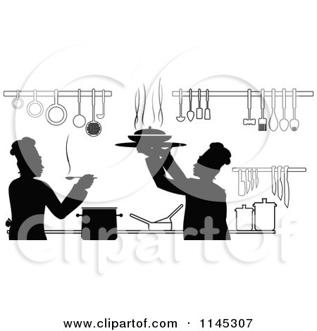 Clipart of Black and White Silhouetted Chefs Working in a Kitchen - Royalty Free Vector Illustration by Vector Tradition SM