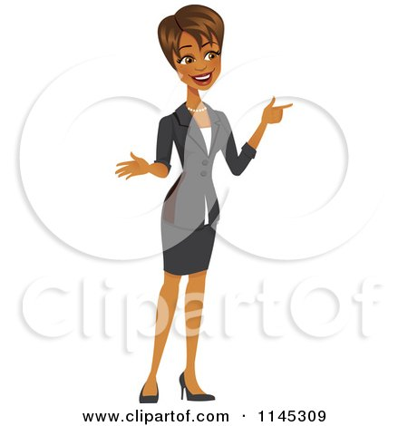 Cartoon of a Happy Black or Indian Businesswoman Pointing - Royalty Free Vector Clipart by Amanda Kate