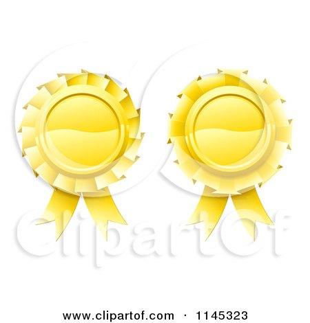 Clipart of Two 3d Golden Medal Rosette Awards - Royalty Free Vector Illustration by AtStockIllustration