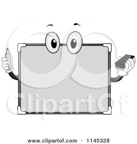 Cartoon of a White Board Mascot Holding a Marker - Royalty Free Vector Clipart by BNP Design Studio