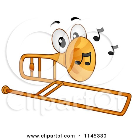 Cartoon of a Trombone Mascot with Music Notes - Royalty Free Vector Clipart by BNP Design Studio