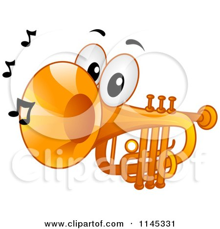 Cartoon of a Trumpet Mascot with Music Notes - Royalty Free Vector Clipart by BNP Design Studio