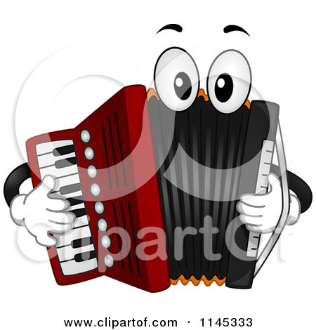 Cartoon of a Musical Accordion Mascot Playing Itself - Royalty Free Vector Clipart by BNP Design Studio