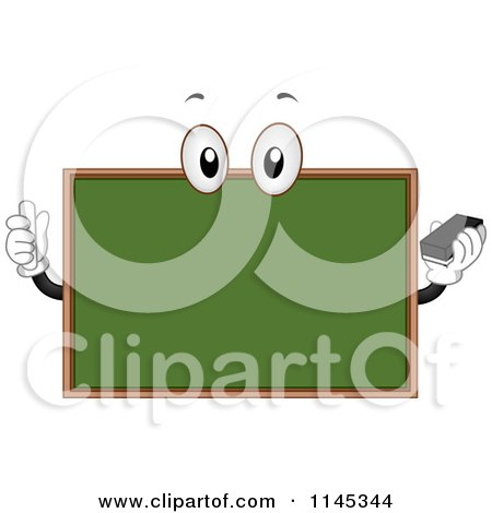 Cartoon of a Chalkboard Mascot Holding Chalk and an Eraser - Royalty Free Vector Clipart by BNP Design Studio