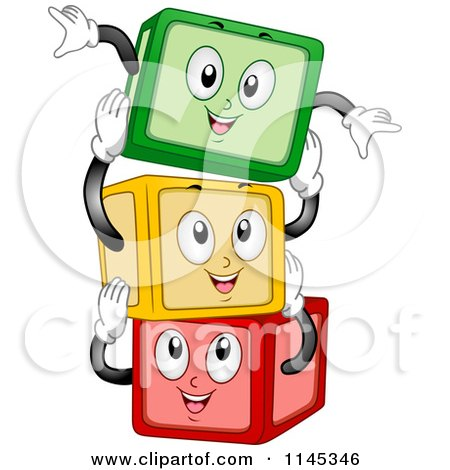 Cartoon of Happy Building Block Mascots Stacking - Royalty Free Vector Clipart by BNP Design Studio