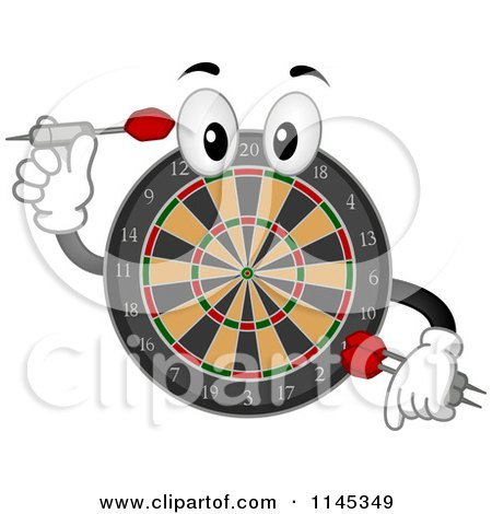 Cartoon of a Dart Board Mascot Holding a Dart - Royalty Free Vector Clipart by BNP Design Studio