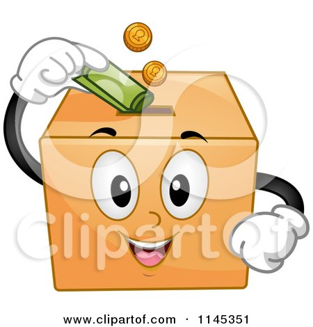 Cartoon of a Donation Box Mascot Inserting Money - Royalty Free Vector Clipart by BNP Design Studio