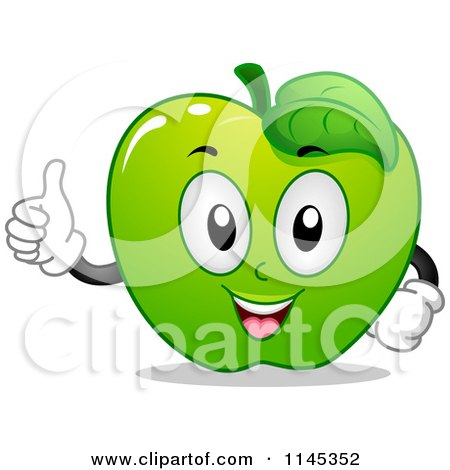 Cartoon of a Green Apple Mascot Holding a Thumb up - Royalty Free Vector Clipart by BNP Design Studio