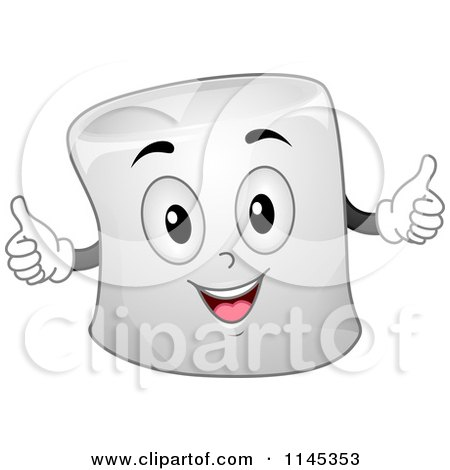 Cartoon of a Marshmallow Mascot Holding Two Thumbs up - Royalty Free Vector Clipart by BNP Design Studio