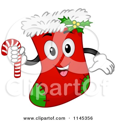 Cartoon of a Christmas Stocking Mascot Holding a Candy Cane - Royalty Free Vector Clipart by BNP Design Studio