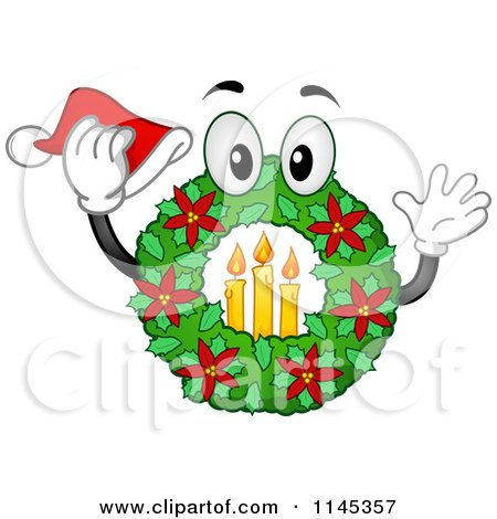 Cartoon of a Christmas Wreath Mascot with Candles and a Santa Hat - Royalty Free Vector Clipart by BNP Design Studio