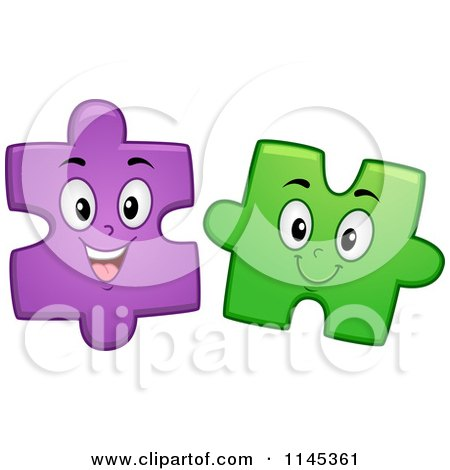 Cartoon of Happy Purple and Green Jigsaw Puzzle Mascots - Royalty Free Vector Clipart by BNP Design Studio