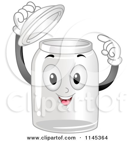 Cartoon of a Happy Empty Glass Container Mascot Pointing Inside - Royalty Free Vector Clipart by BNP Design Studio
