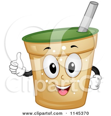 Cartoon of a Happy Beverage Cup Mascot Holding a Thumb up - Royalty Free Vector Clipart by BNP Design Studio