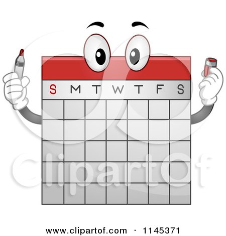 Cartoon of a Calendar Mascot Holding a Marker - Royalty Free Vector Clipart by BNP Design Studio