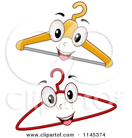 Cartoon of Happy Hanger Mascots - Royalty Free Vector Clipart by BNP Design Studio