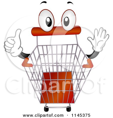 Cartoon of a Shopping Cart Mascot Holding a Thumb up - Royalty Free Vector Clipart by BNP Design Studio