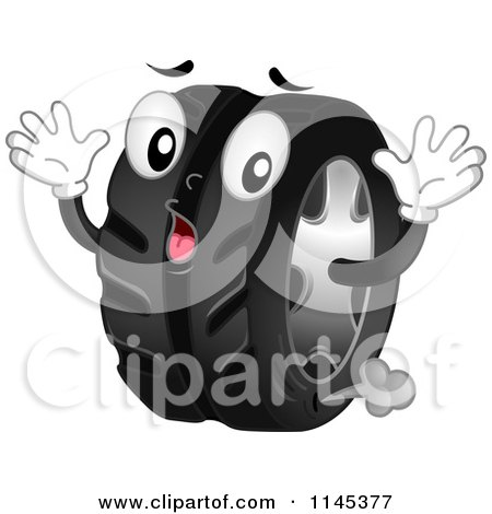 Cartoon of a Shocked Tire Mascot Leaking Air - Royalty Free Vector Clipart by BNP Design Studio