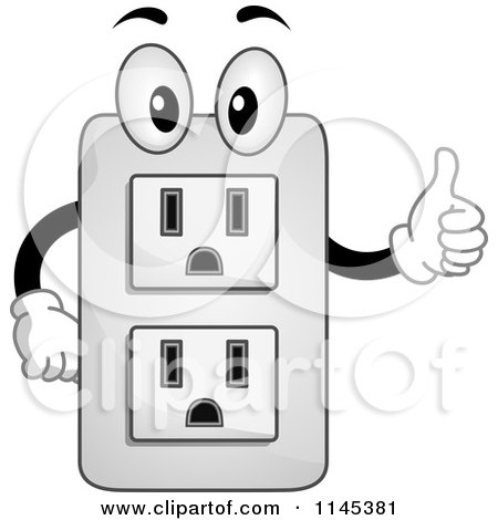 Cartoon Of An Electrical Socket Mascot Holding A Thumb Up