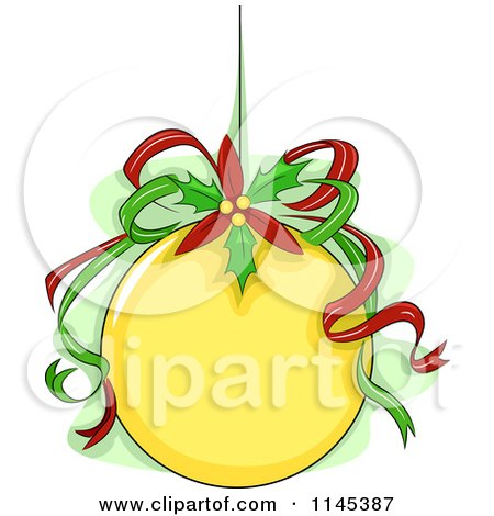 Cartoon of a Yellow Christmas Ornament with Ribbons and Poinsettia - Royalty Free Vector Clipart by BNP Design Studio