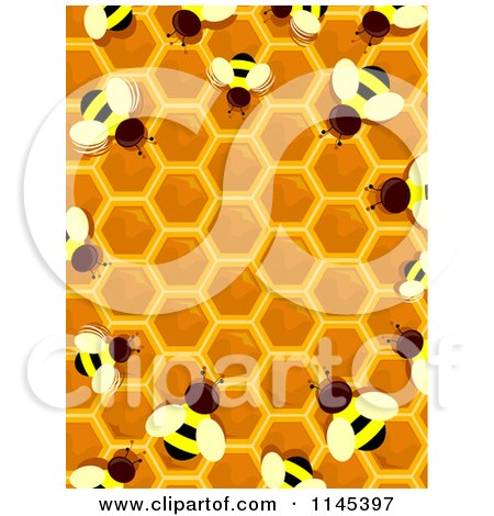 Cartoon of a Bee and Honey Hive Border - Royalty Free Vector Clipart by BNP Design Studio
