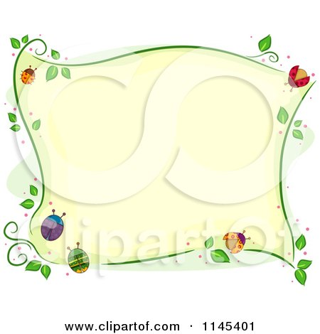 Cartoon of a Border of Colorful Ladybugs and Vines - Royalty Free Vector Clipart by BNP Design Studio