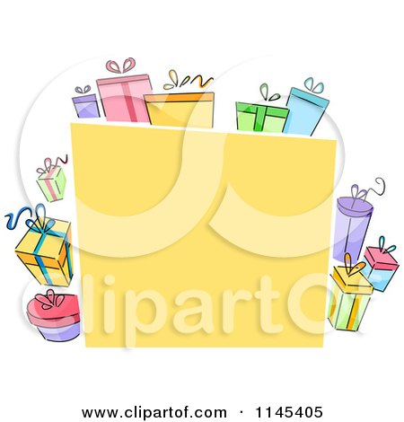 Cartoon of a Yellow Board with Colorful Gift Boxes - Royalty Free Vector Clipart by BNP Design Studio