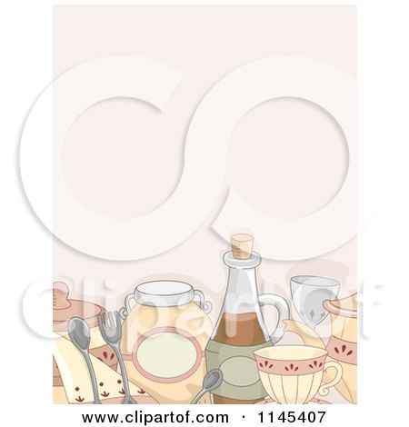 Cartoon of a Backgorund of Country Styled Kitchen Items and Condiments - Royalty Free Vector Clipart by BNP Design Studio