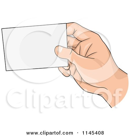 Cartoon of a hand holding up a blank business card for Clipart for business cards