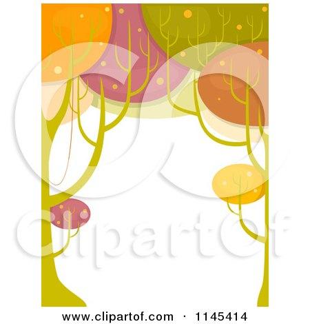 Retro Colorful Tree Border Posters, Art Prints