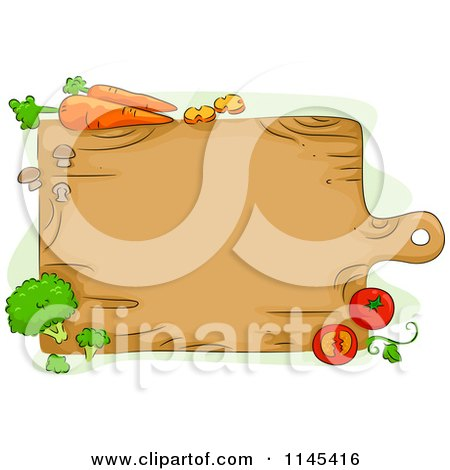 Cartoon of a Wooden Cutting Board and Veggies - Royalty Free Vector Clipart by BNP Design Studio
