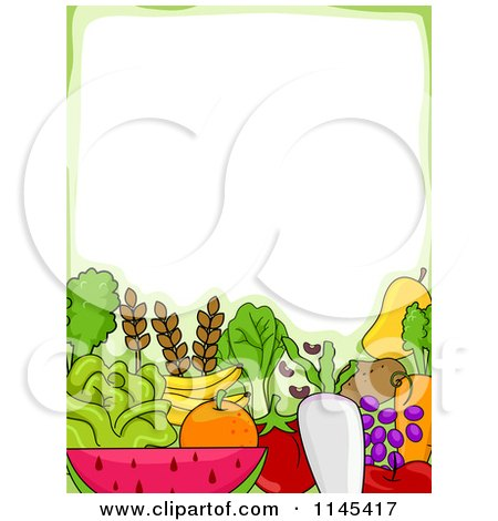 Cartoon of a Border of Fruits and Veggies Under Copyspace - Royalty Free Vector Clipart by BNP Design Studio