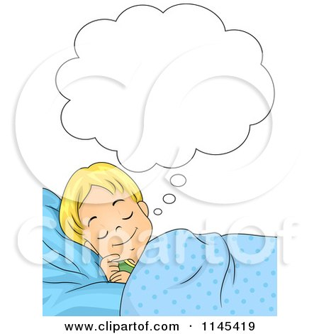 Cartoon Of A Happy Girl Dreaming Royalty Free Vector