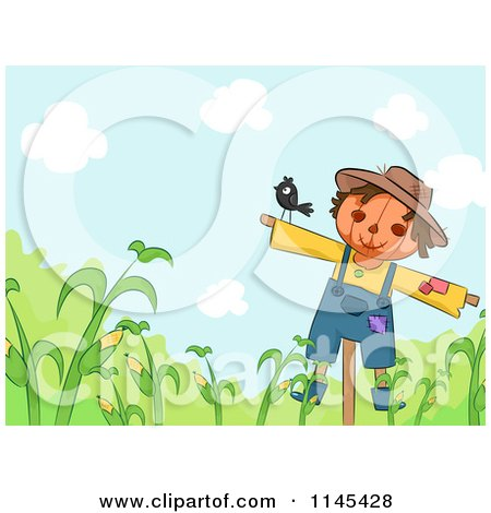 Cartoon of a Bird on a Scarecrow over Corn - Royalty Free Vector Clipart by BNP Design Studio