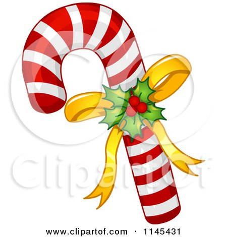 Cartoon Of Holly And Bow On A Christmas Candy Cane Royalty Free Vector Clipart