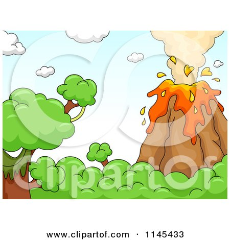 Cartoon of a Bursting Volcano - Royalty Free Vector Clipart by BNP Design Studio