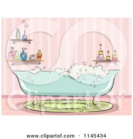 Cartoon of a Bubble Bath Tub in a Pink Bathroom - Royalty Free Vector Clipart by BNP Design Studio