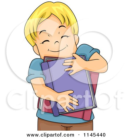 Cartoon of a Blond Boy Hugging Books - Royalty Free Vector Clipart by BNP Design Studio