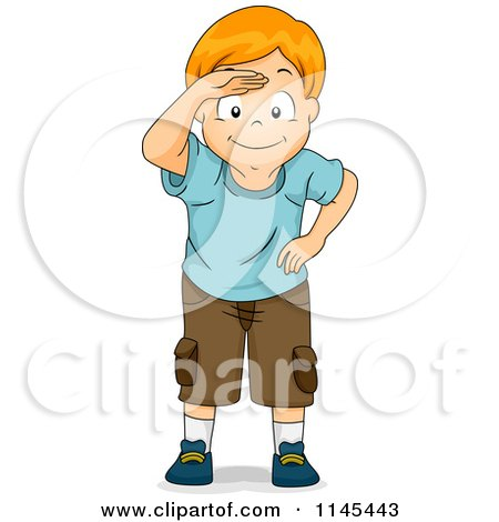 Cartoon of a Red Haired Boy Peering and Covering His Eyes - Royalty Free Vector Clipart by BNP Design Studio