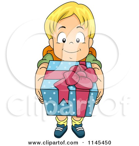 Cartoon of a Blond Boy Holding up a Gift - Royalty Free Vector Clipart by BNP Design Studio