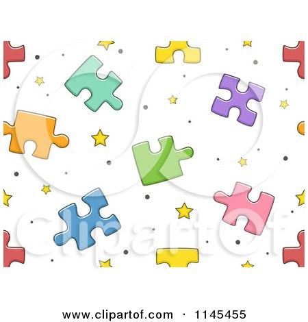 Cartoon of a Seamless Pattern of Puzzle Pieces - Royalty Free Vector Clipart by BNP Design Studio