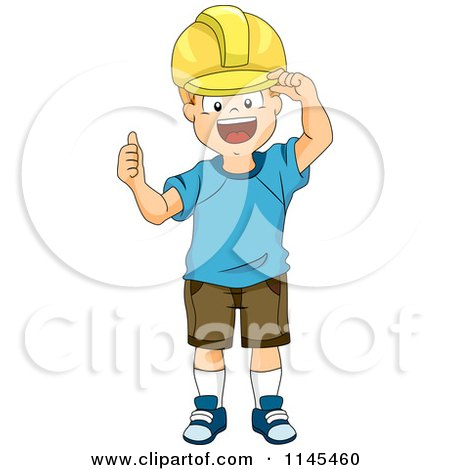 Cartoon of a Construction Boy Wearing a Hard Hat and Holding a Thumb up - Royalty Free Vector Clipart by BNP Design Studio
