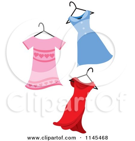 Clipart of Pink Blue and Red Dresses on a Hanger - Royalty Free Vector Illustration by Rosie Piter