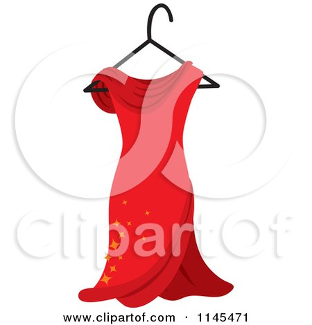 Clipart of a Red Dress with Sparkles on a Hanger - Royalty Free Vector Illustration by Rosie Piter